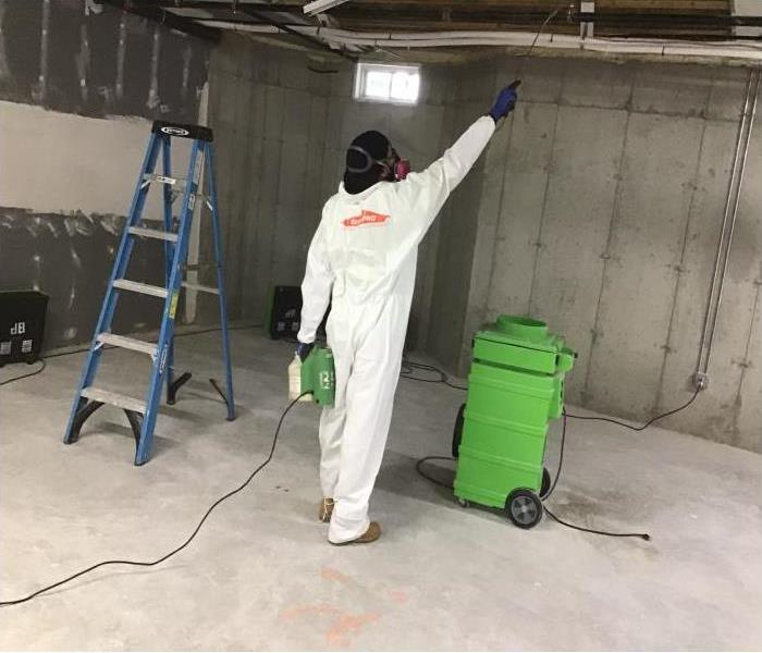 technician in protective suite applying antimicrobial to ceiling