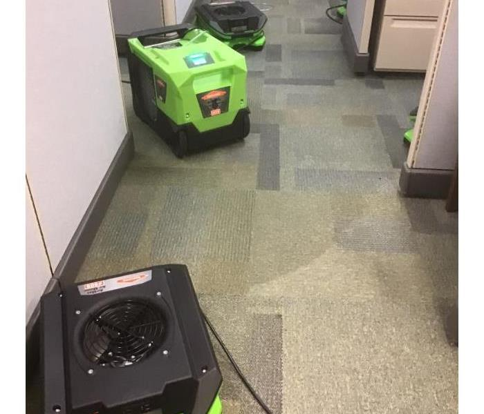 drying equipment in office to dry wet carpet